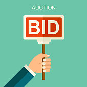 Vector auction and bidding concept. Hands holding auction paddle. Flat vector illustration with banners BID.