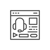 Vector audio course, podcast, education website, web page line icon.