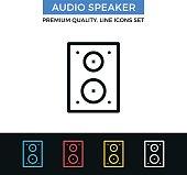 Vector audio speaker icon. Studio monitors. Thin line icons set