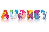 Vector AUDREY written with alphabet puzzle