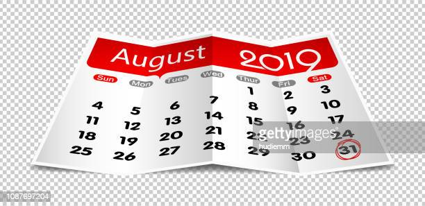 vector august 2019 calendar on folded paper isolated - august stock illustrations