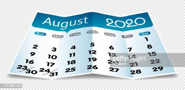 vector august 2020 calendar on folded paper isolated - august stock illustrations
