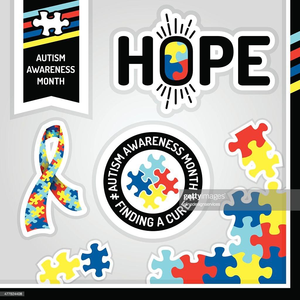 Vector Autism Awareness Design Elements Illustration