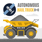 Vector autonomous heavy haul truck with satellite. Future dump machine for coal mining industry freight self drive vehicle flat illustration.