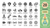 Vector autonomous self drive car sensor control system icon set. Driverless vehicle advanced assistance remote technology with cameras and radars symbols.