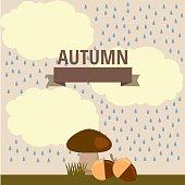 vector autumn illustration of mushroom in the rain