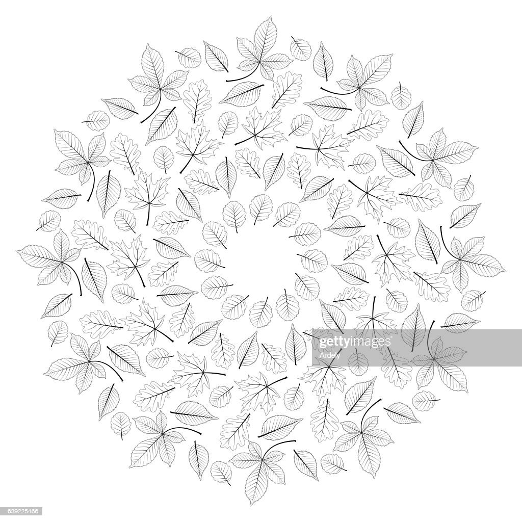 vector autumn leafy mandala black and white