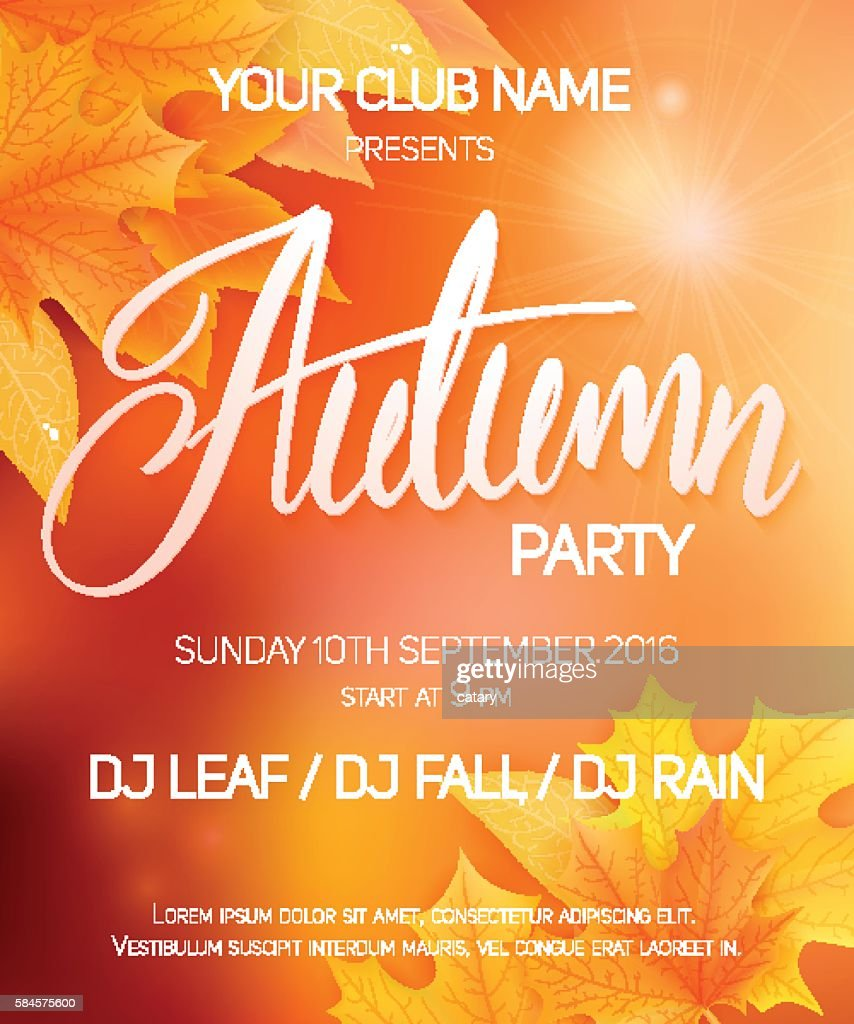 vector autumn party poster with leaves and lettering word  autumn