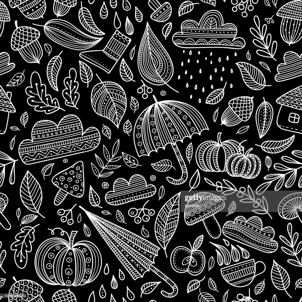 Vector autumn seamless pattern with black background