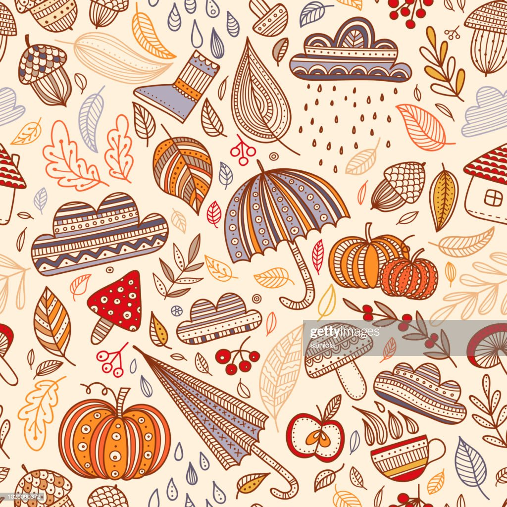 Vector autumn seamless pattern with leaves, cloud, acorn, umbrel