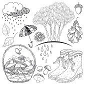 Vector autumn set with outline tree with falling leaves, rubber boots, basket mushrooms, umbrella, rainy cloud and leaves in black isolated on white background.