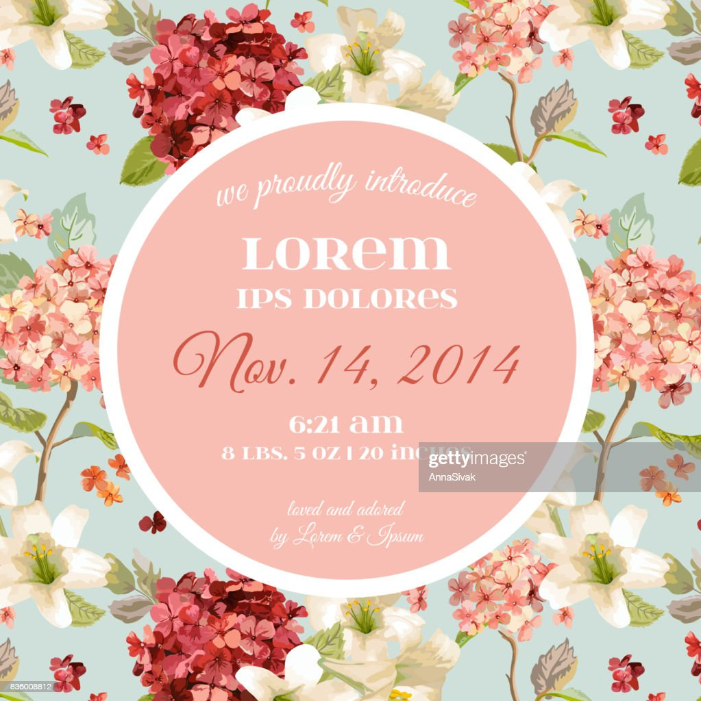 Vector Autumn Vintage Hortensia Flowers. Baby Arrival Floral Card in Watercolor Style.