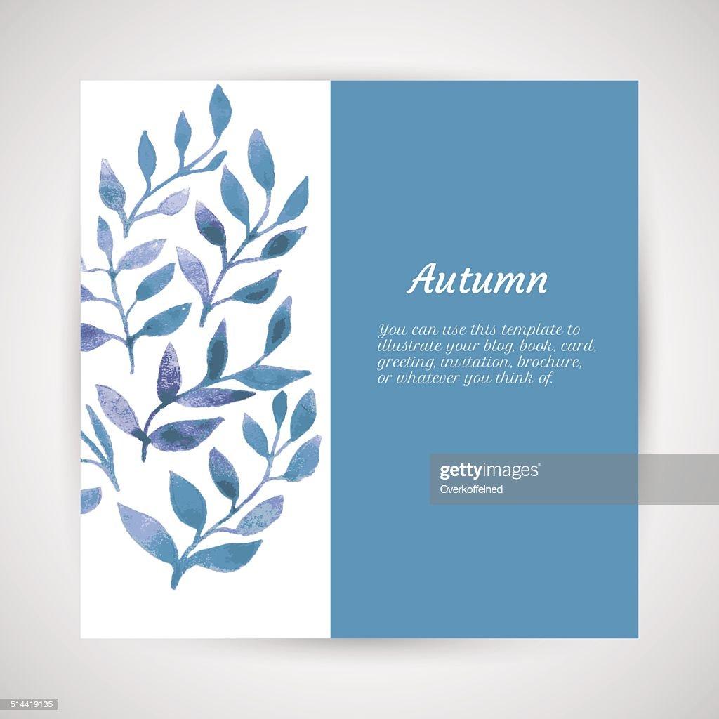 Vector Autumn Watercolor Leaf Pattern Template Art