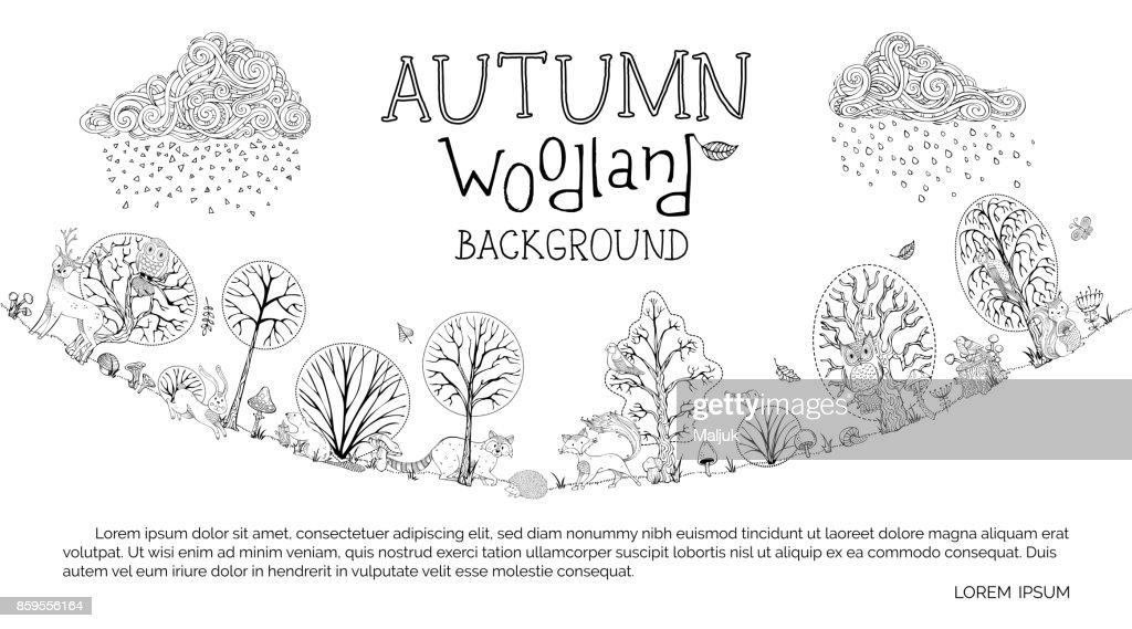 Vector autumn woodland background.