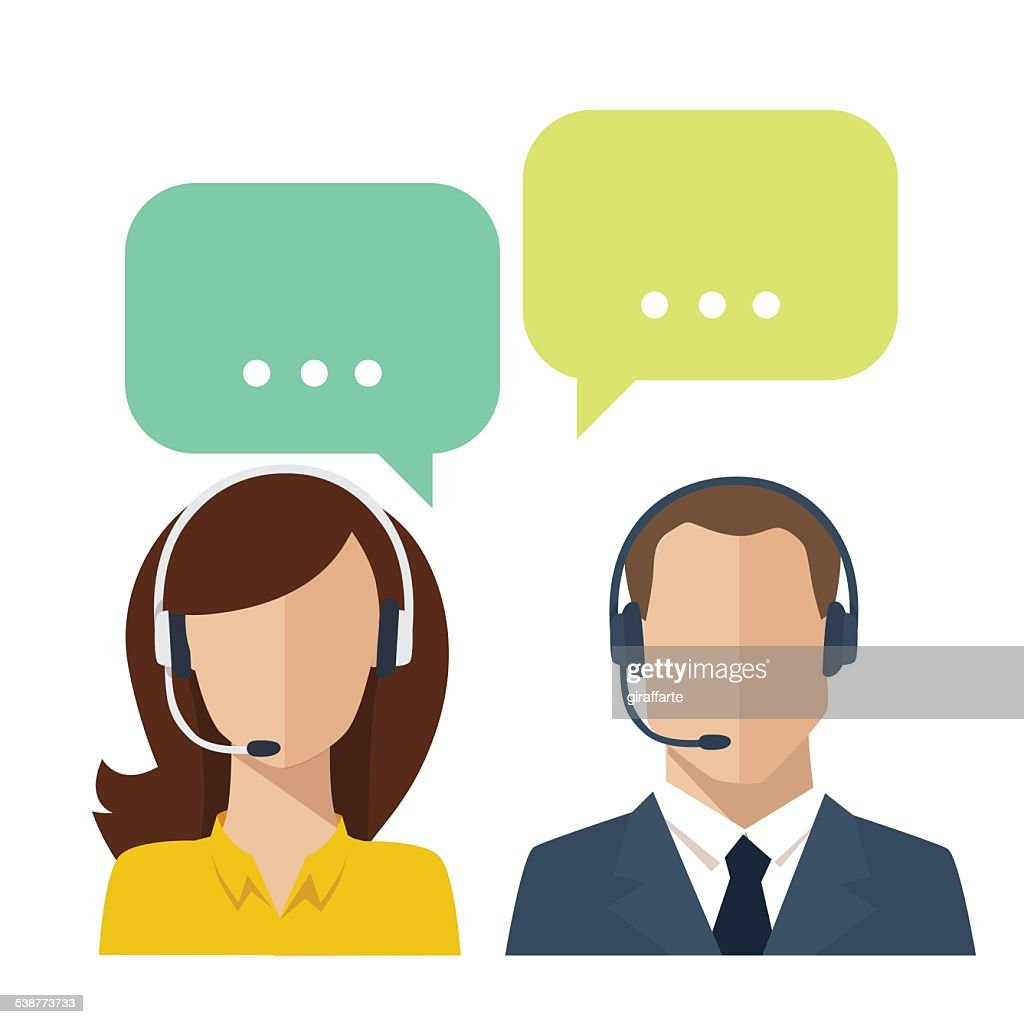 Vector avatars of two talking people with speech bulbs.