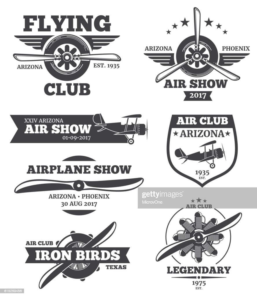 Vector aviation badges, avia club emblems, airplane logos set