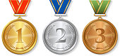 Vector Award  gold, silver and bronze Medals Set isolated
