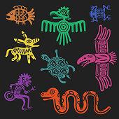 Vector aztec symbols or inca pattern culture signs