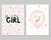 Vector baby shower cards for girls. Pink illustration