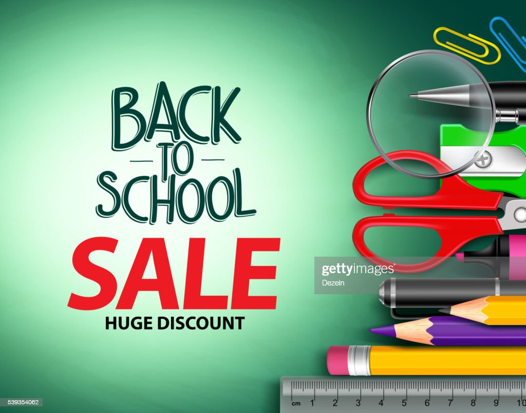 Vector back to school sale text in green background