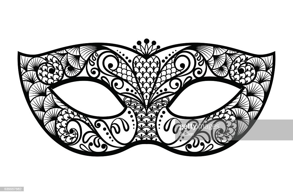 Vector back venetian carnival mardi gras party mask. Vector illu