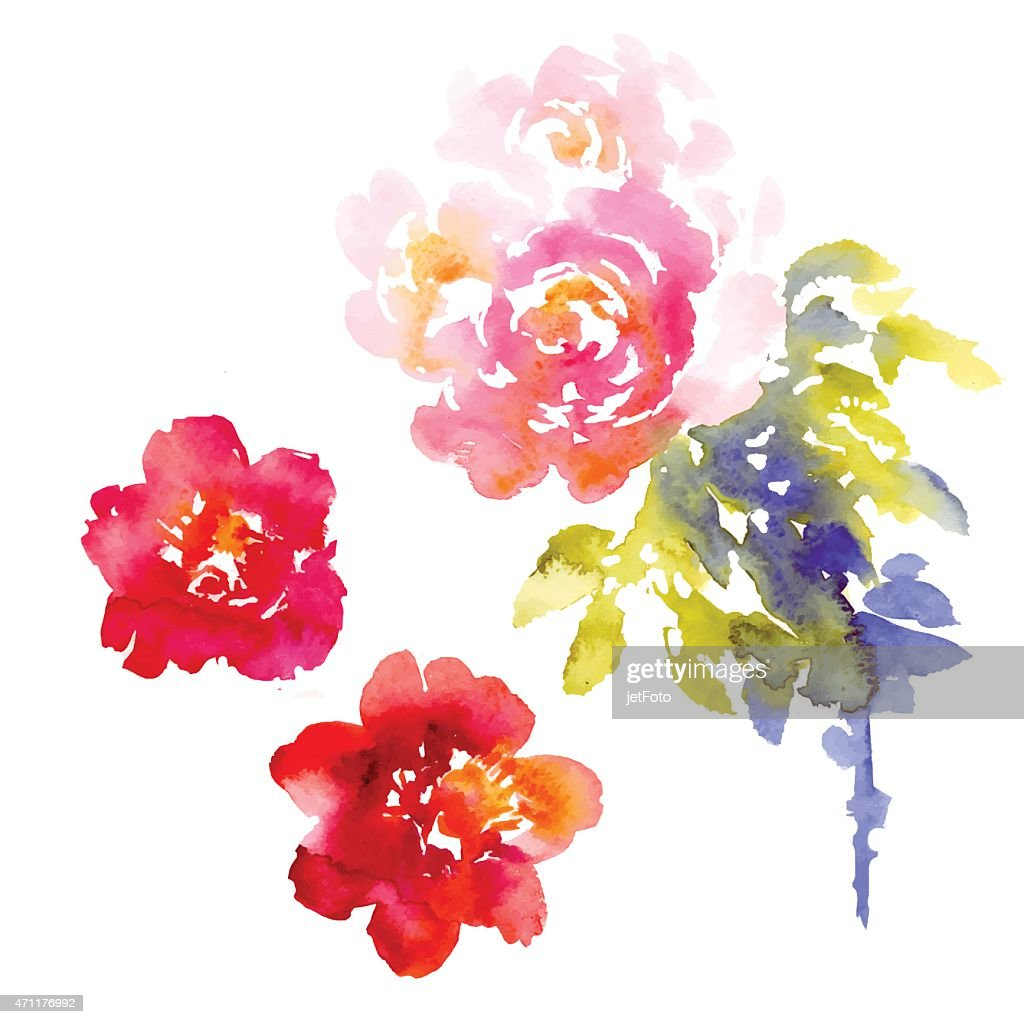 A vector background of pink and purple flowers in watercolor