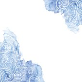 Vector background on a sea theme. Waves on a blue watercolor background.