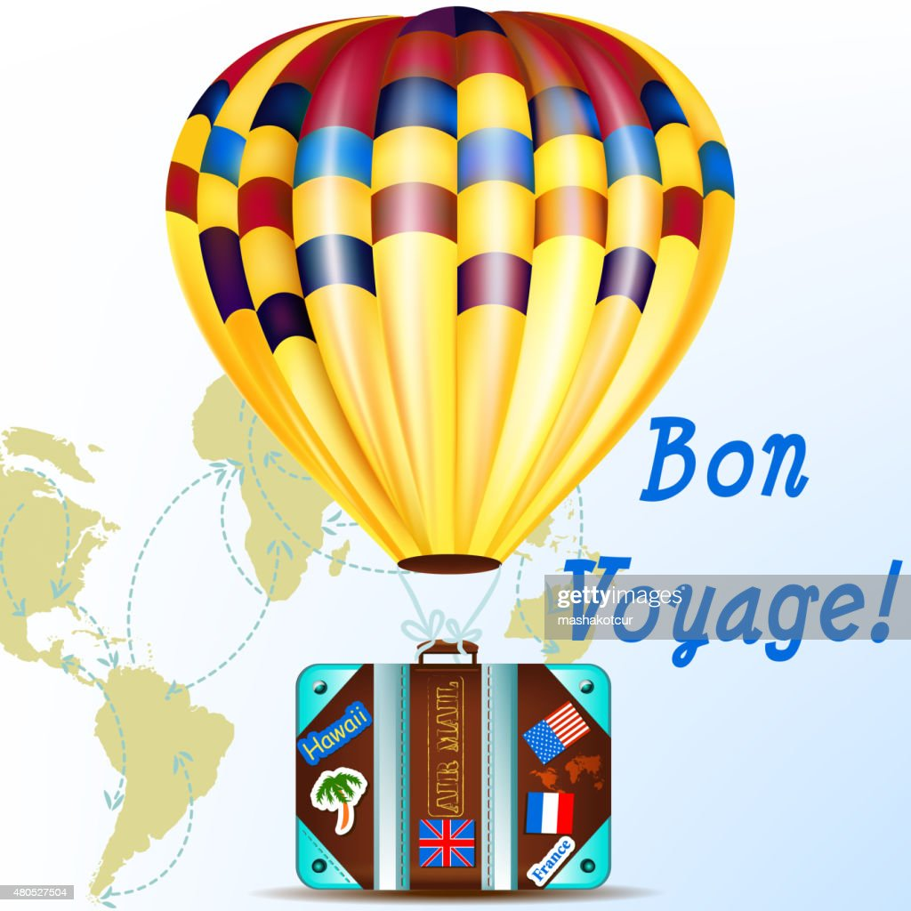 Vector background with air balloon and suitcase vacation symbol : Vectorkunst