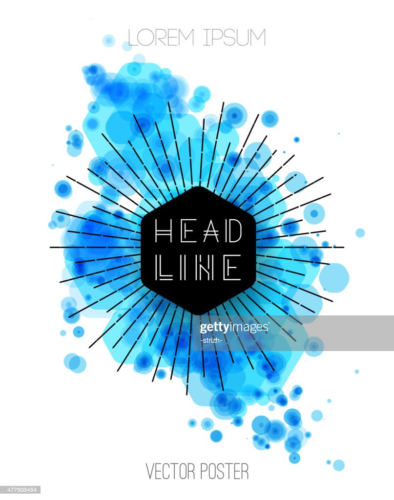 Vector background with blue color splash. Retro style design for