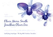 Vector background with blue watercolor orchids