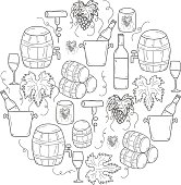 Vector background with cartoon hand drawn wine objects in round