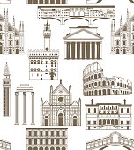 vector background with famous Italian landmarks