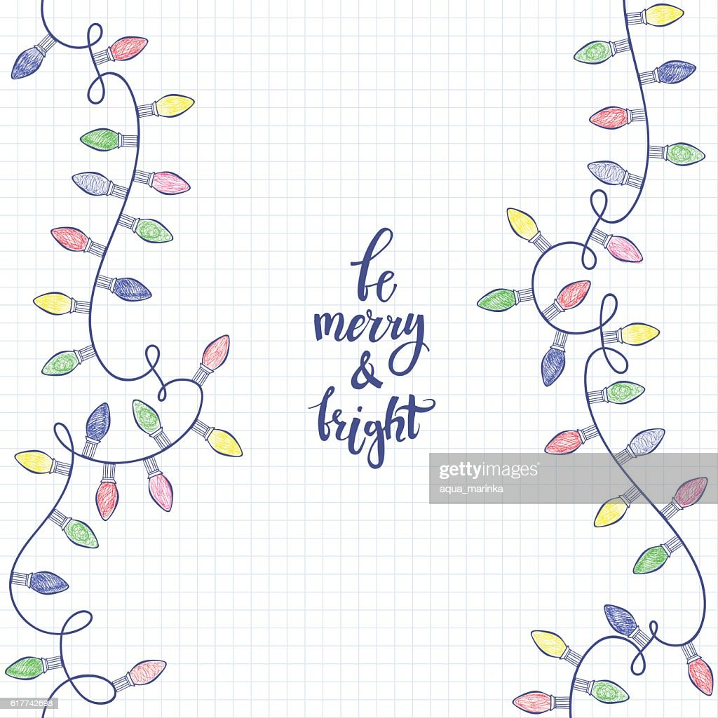 Vector background with festive garlands  on paper from a notebook.