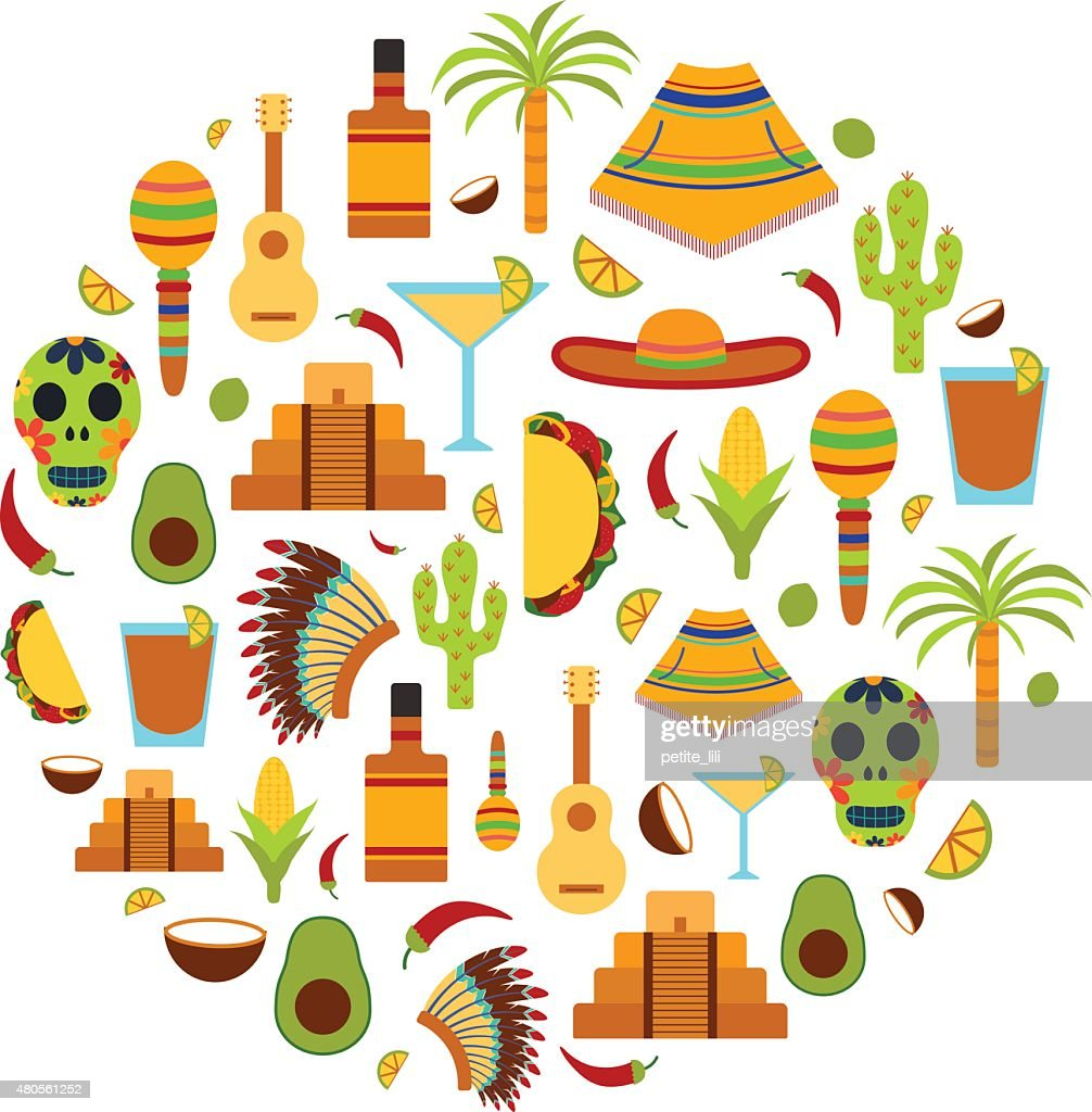 Vector background with flat objects on Mexico theme : Vector Art