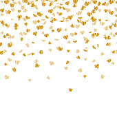 Vector Background with Golden Heart Confetti