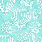 Vector background with hot air ballons in sky