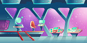 Vector background with interior of spaceship
