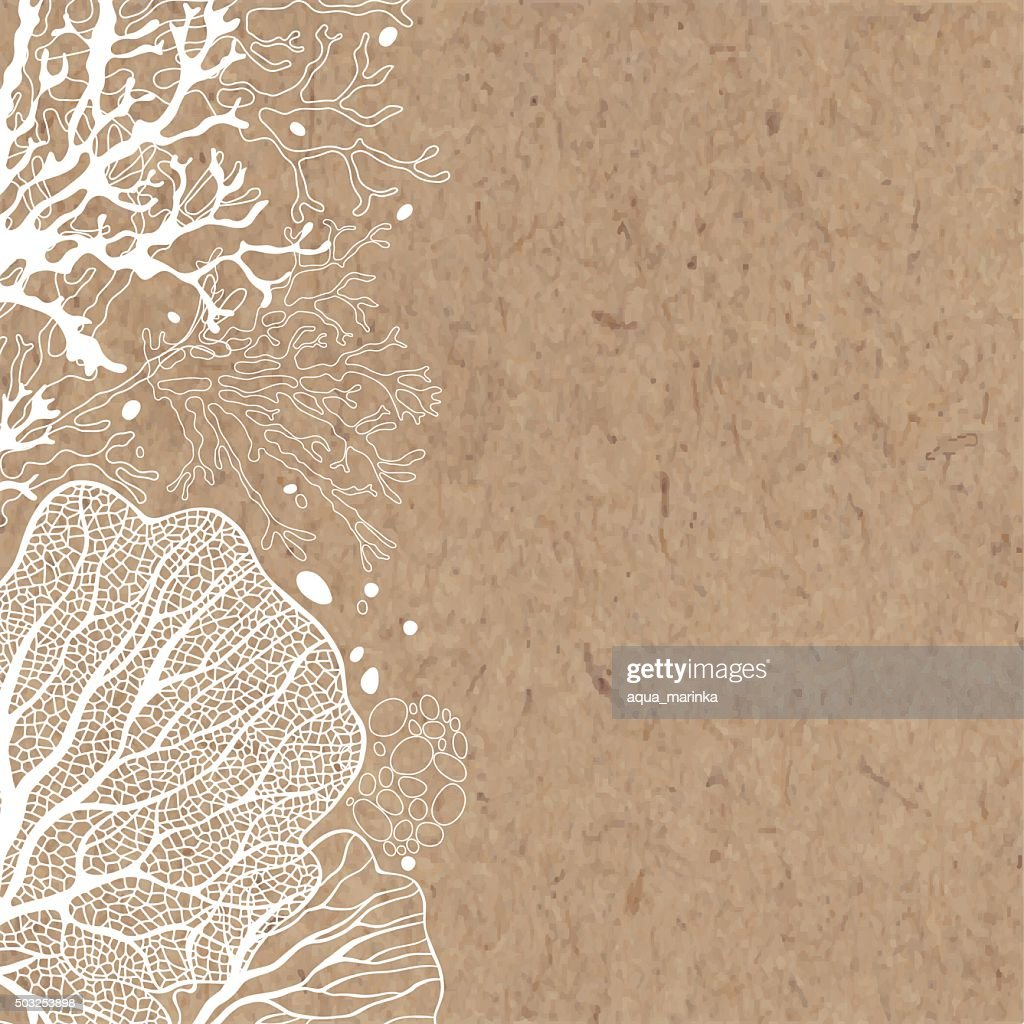 Vector background with marine plants on kraft paper.