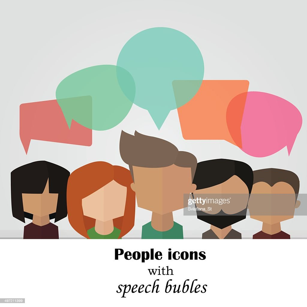 Vector background with people icons with colorful speech bubles