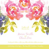 Vector background with pink watercolor bouquet