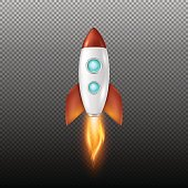 Vector background with retro space rocket ship launch, Template for project start up and development process, creative idea etc