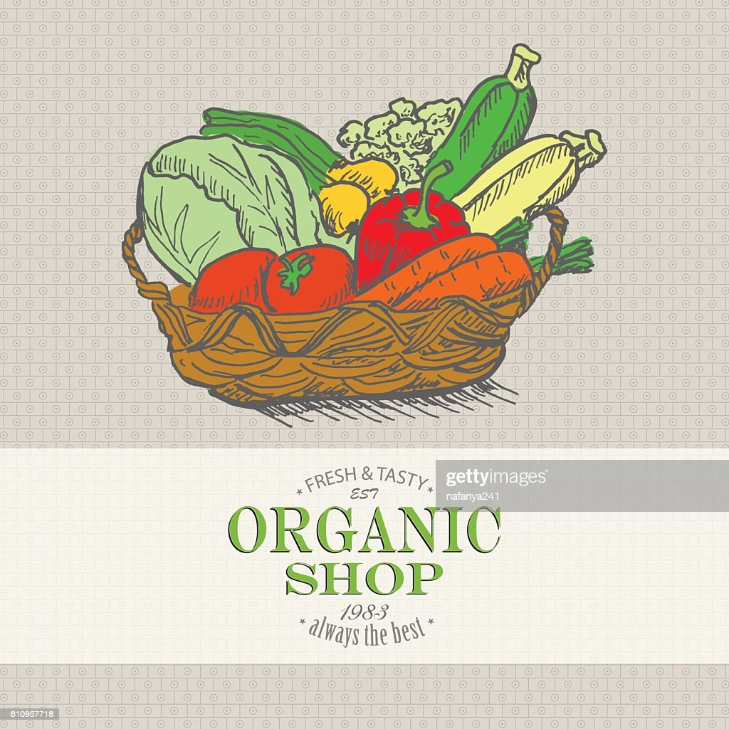 Vector background with vegetables in the basket. Organic shop