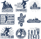 Vector badge theme snowboard in grunge style for your design, print in the press and T-shirts, the Internet.