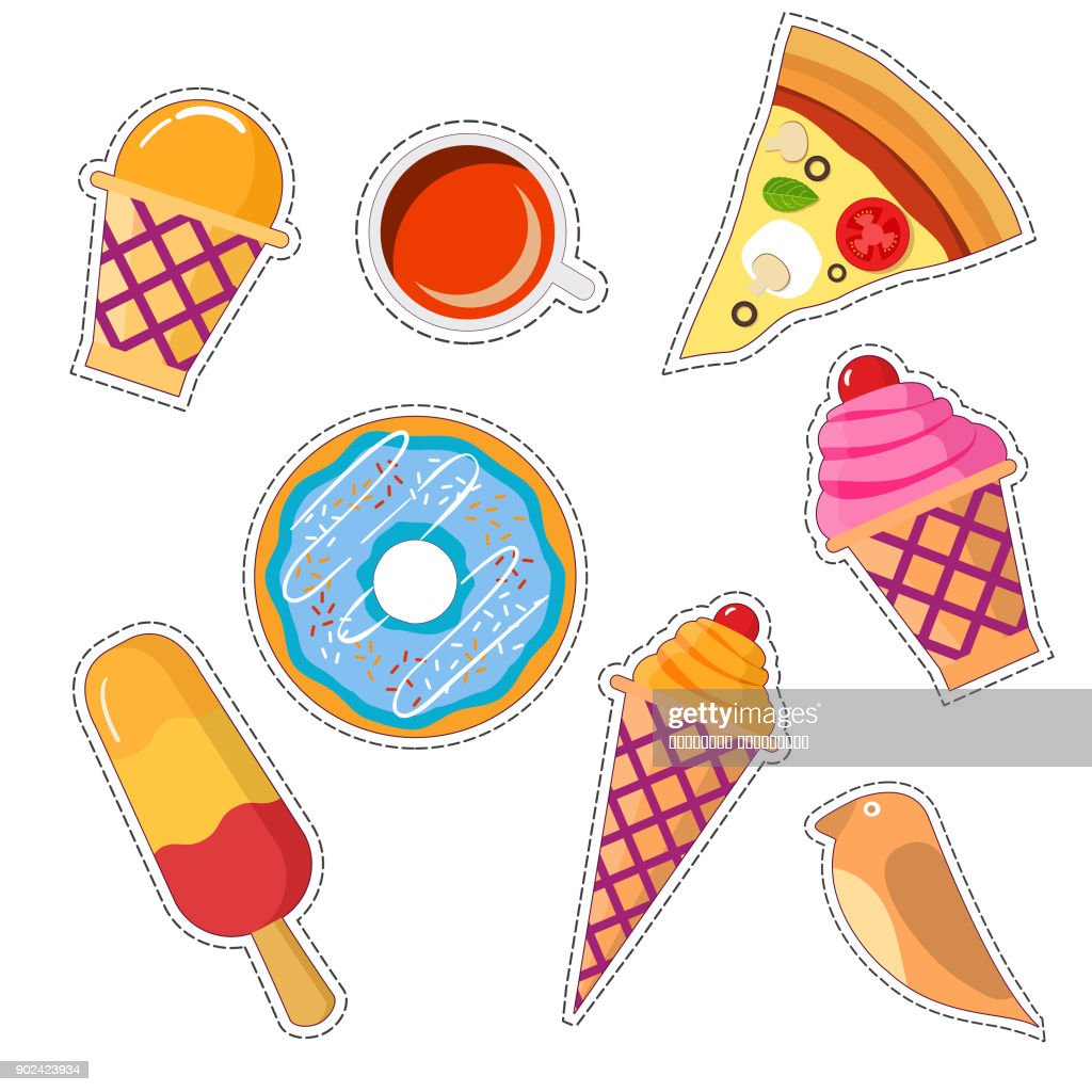 Vector badges and pins cartoon with a wafer cup of ice cream, horn with ice cream, an eskimo, a birdie, a cup of coffee and tea, pizza, a donut.