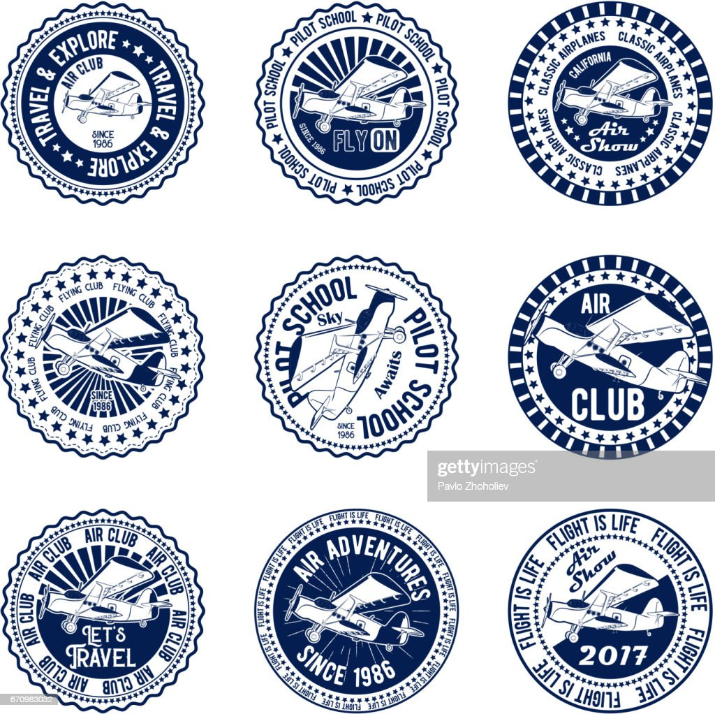Vector badges set the classical propeller aircraft pilot school air club air show for print and web on a white background