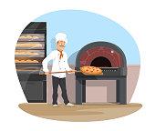 Vector bakery and baker baking flat design