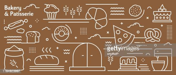 vector bakery and patisserie banner design in trendy linear style. line art style abstract pattern for web page, banner, presentation - baker occupation stock illustrations