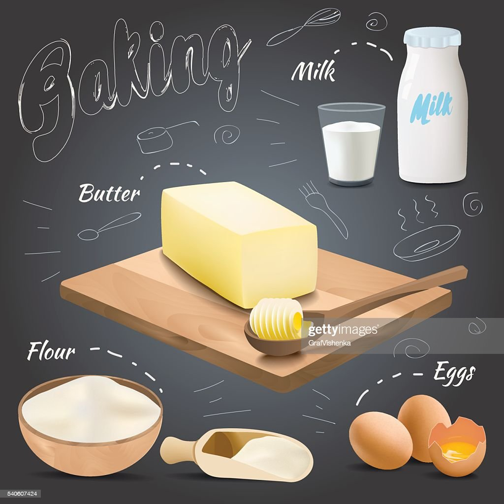 Vector baking ingredients design with butter, flour, eggs, milk