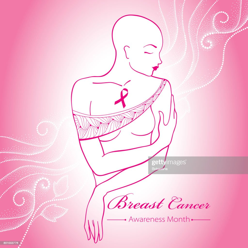 Vector bald woman after chemotherapy with pink ribbon on the pink background with dotted swirls.