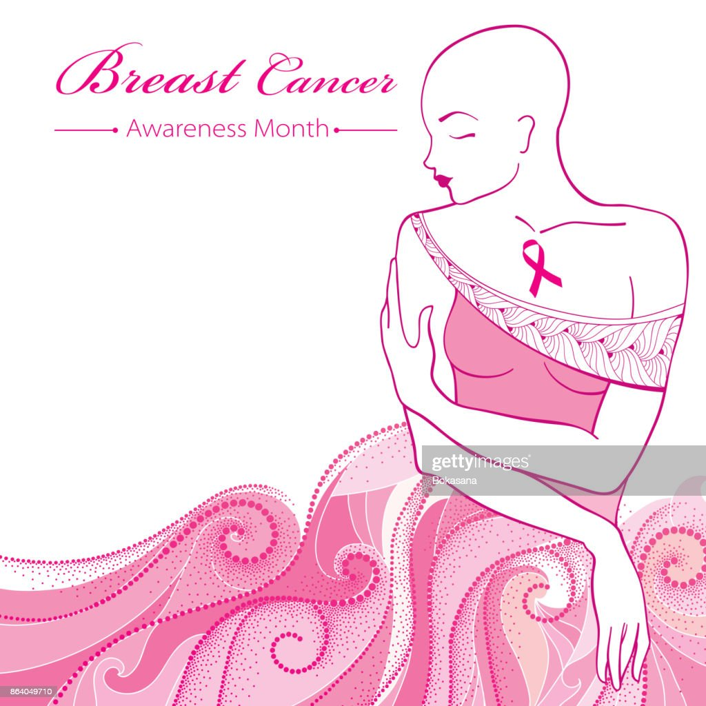 Vector bald woman after chemotherapy with pink ribbon on the background with dotted pink swirls.